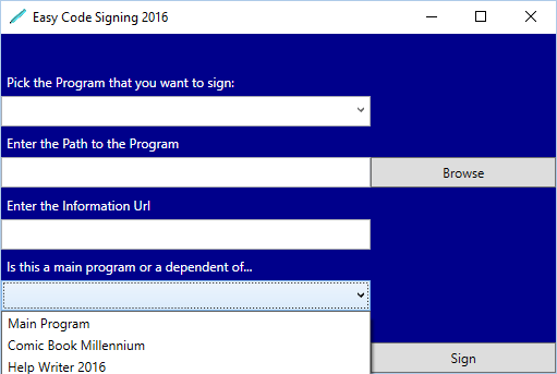 Easy Code Signing 2016 - Beaver Valley Software